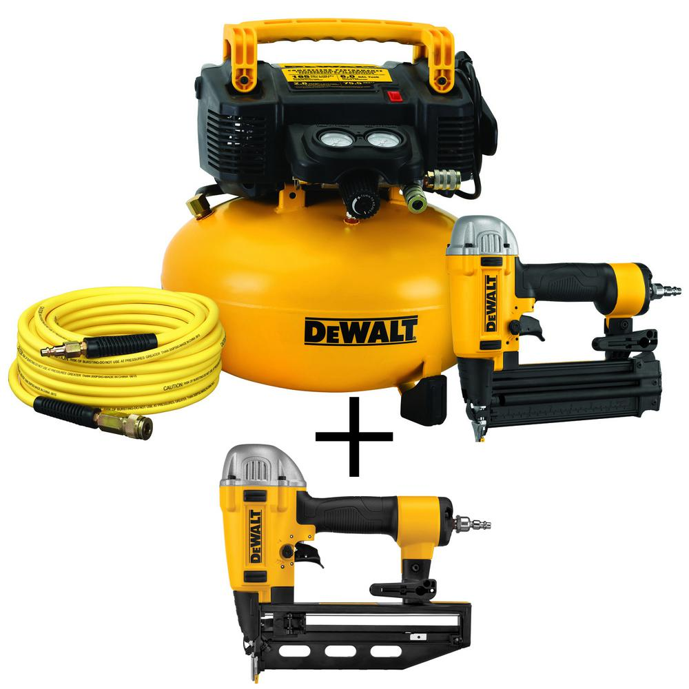 DEWALT 18-GA Brad Nailer and 6 Gal. Heavy-Duty Pancake Electric Air Compressor Combo Kit (1-Tool) w/Bonus 16-GA 2.5 in. Nailer