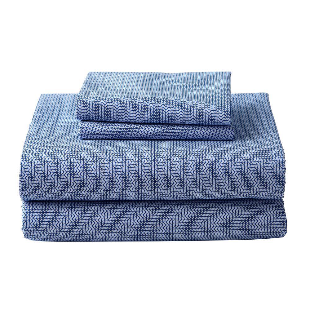 The Company Store Arrowhead White/Blue Cotton Percale Standard Pillowcase (Set
