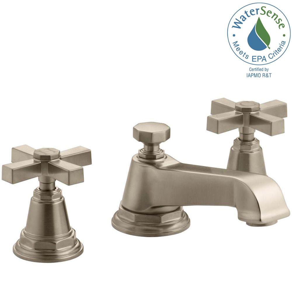 KOHLER Pinstripe 8 in. Widespread 2-Handle Water-Saving Bathroom ...
