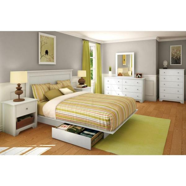 South Shore Vito 1-Drawer Nightstand in Pure White