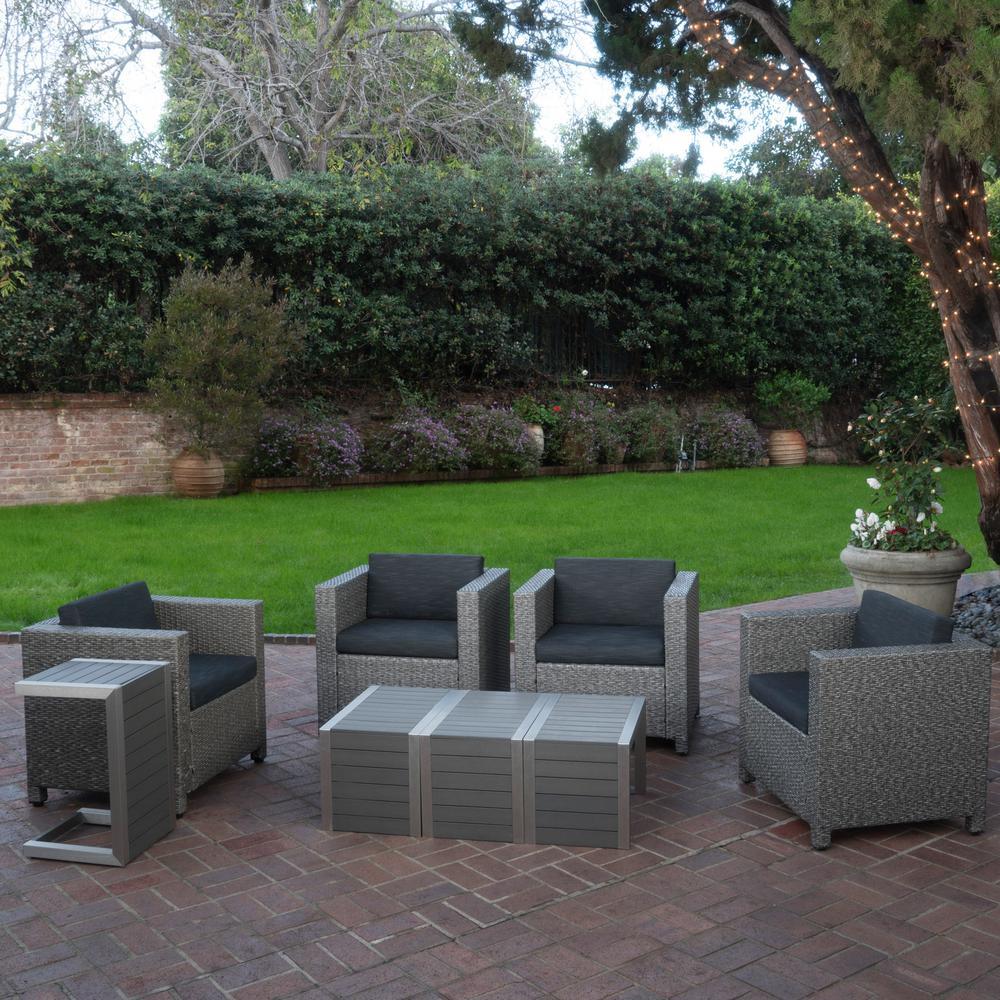 Puerta Dark Grey 8-Piece Wicker Patio Conversation Set with Black Cushions