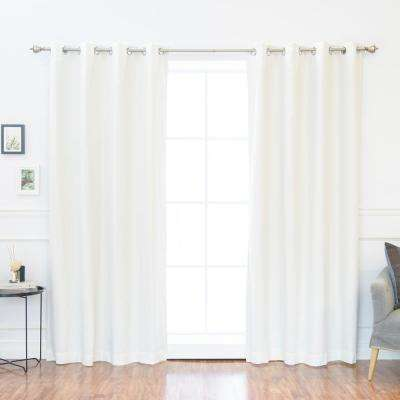 84 in. L Solid Cotton Blend Blackout Curtains in Optic White (2-Pack)