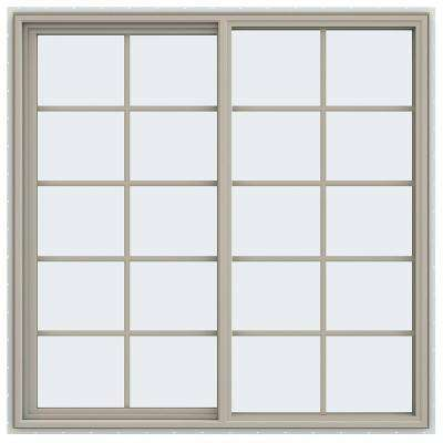 59.5 in. x 59.5 in. V-4500 Series Left-Hand Sliding Vinyl Window with Grids - Tan