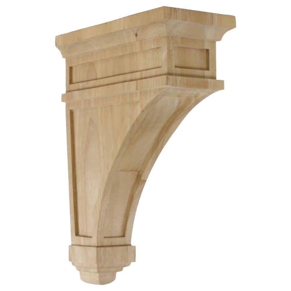 Ekena Millwork 10 in. x 4-1/2 in. x 13-3/4 in. Unfinished Wood Rubberwood Arlington Corbel