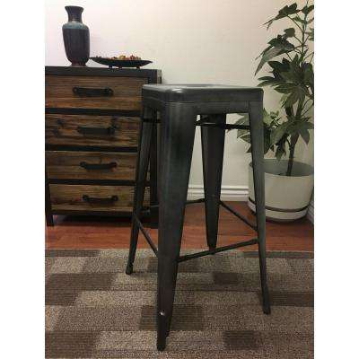Lux Home 30 inch Burnished Steel Metal Retro Bar Stool (Set of 4)