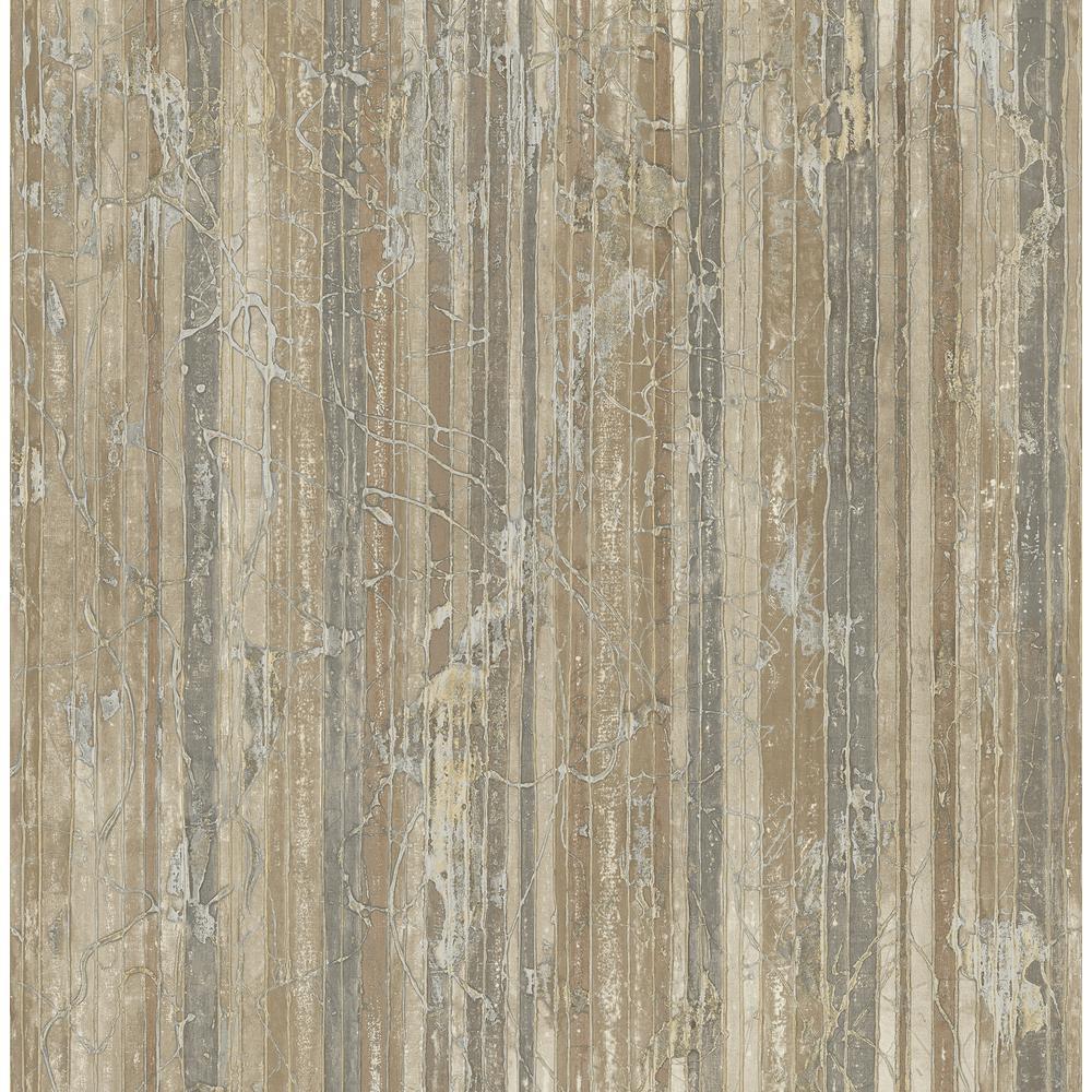 Whitney Gray and Copper Splatter Striped Wallpaper