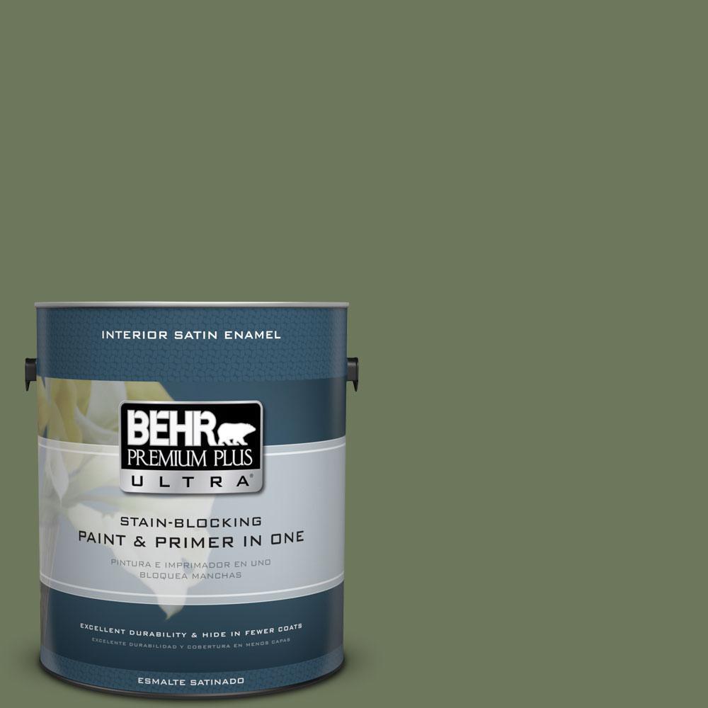 BEHR Premium Plus Ultra 1-gal. #420F-6 Egyptian Nile Satin Enamel Interior Paint