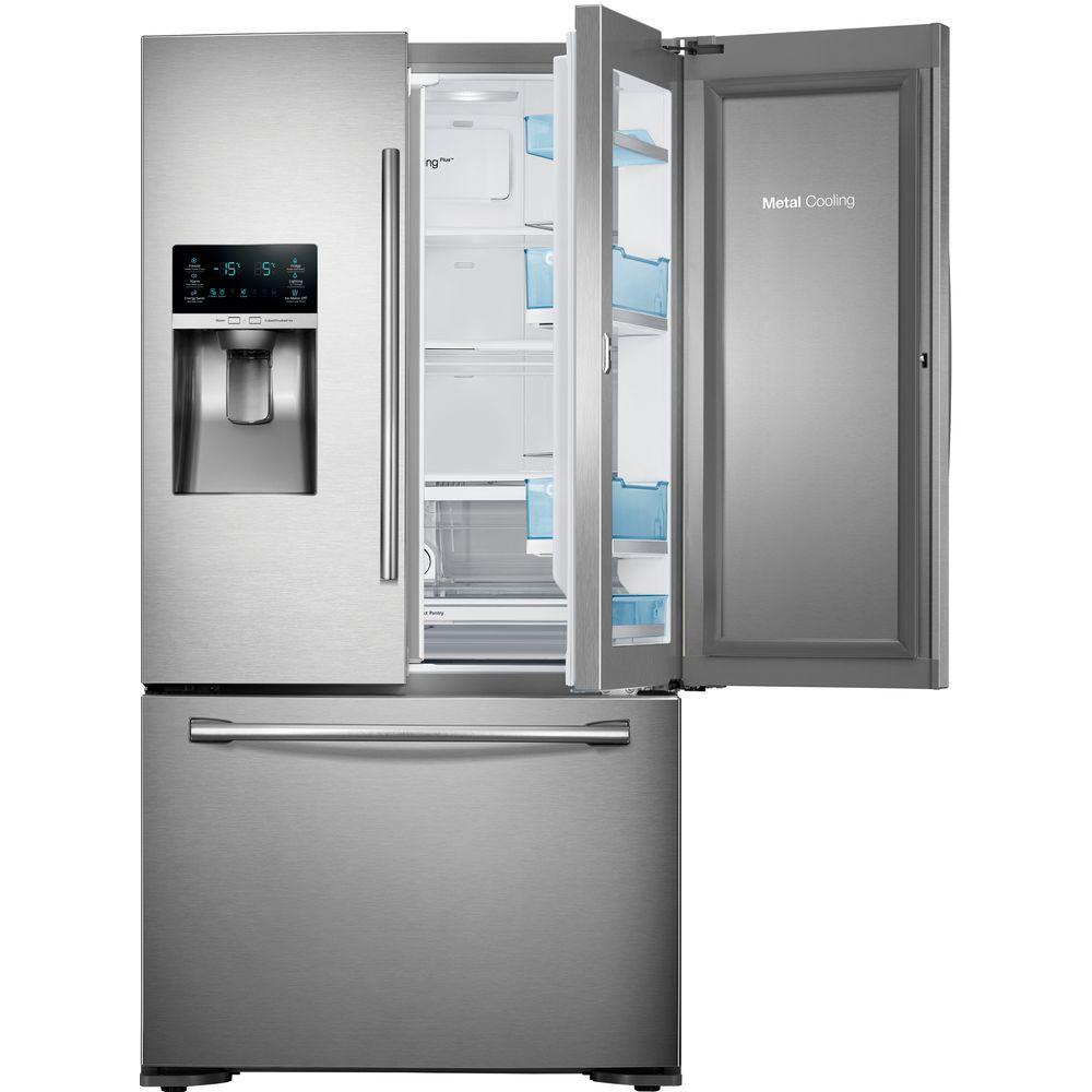 Samsung 22.5 cu. ft. Food Showcase French Door Refrigerator in Stainless Steel, Counter Depth