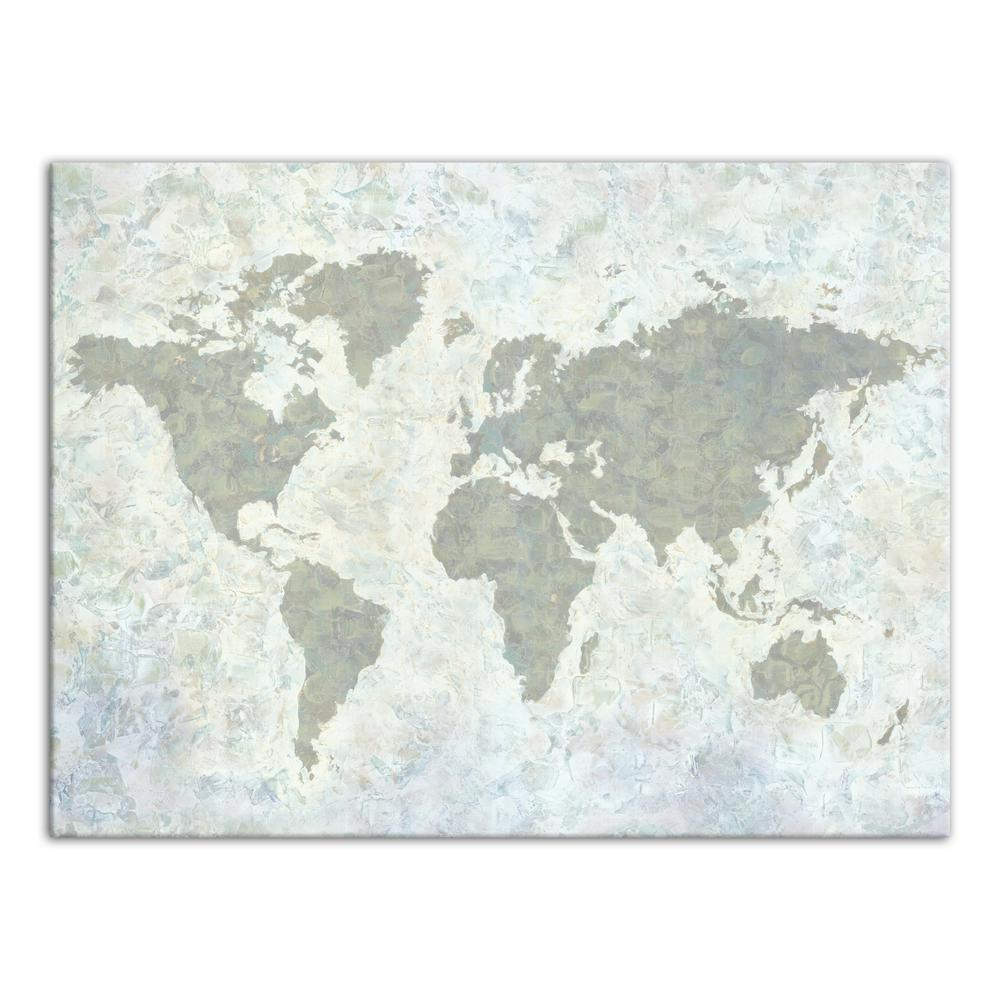 Designs Direct 30 In X 40 In Neutral World Map Painted Printed