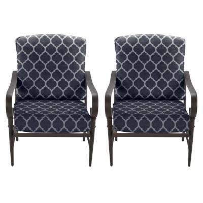 Oak Cliff Brown Steel Outdoor Patio Lounge Chair with CushionGuard Midnight Trellis Navy Blue Cushions (2-Pack)