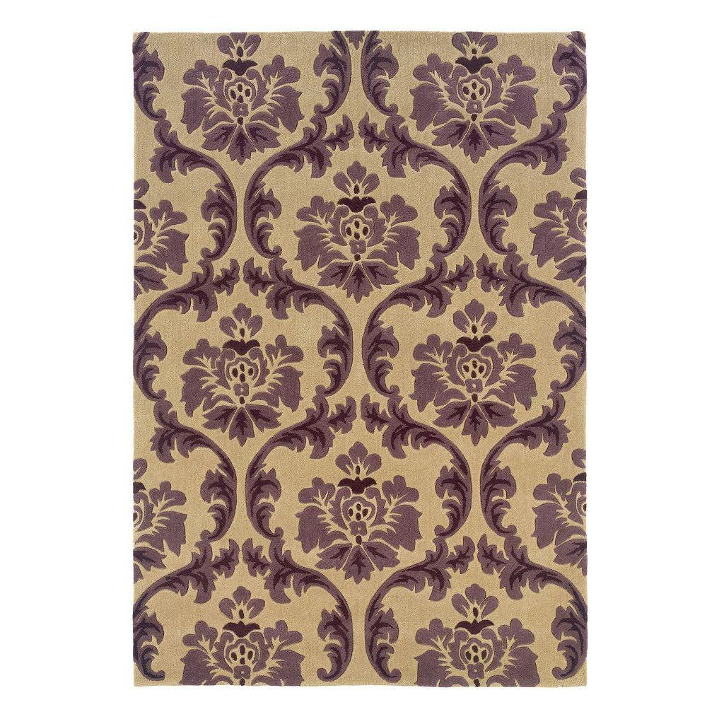 Linon Home Decor Trio Collection Cream And Purple 5 Ft X 7 Ft Indoor Area Rug Rug Tarl0557