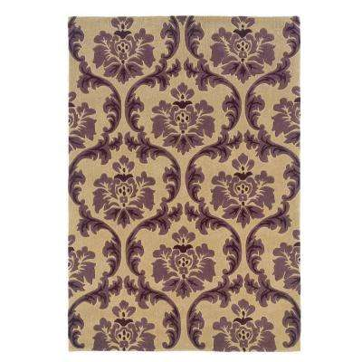 Trio Collection Cream and Purple 5 ft. x 7 ft. Indoor Area Rug