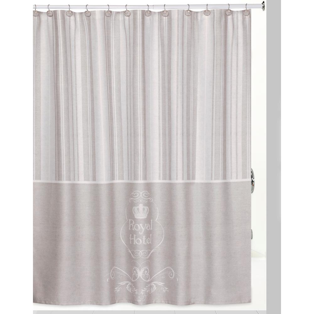 Royal Hotel Shower Curtain Hooks Bath Rug Set In Taupe White
