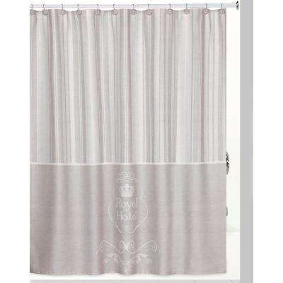 Royal Hotel Shower Curtain/Hooks/Bath Rug Set in Taupe/White
