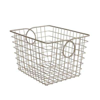 Teardrop 9.625 in. W x 12.75 in. D x 8 in. H Small Basket in Satin Nickel PC