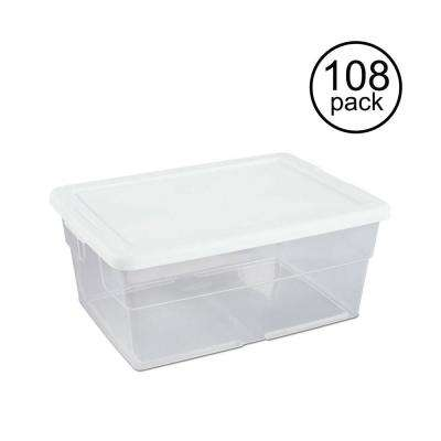 16 Qt. Clear Stacking Closet Storage Box Container Tub (108)