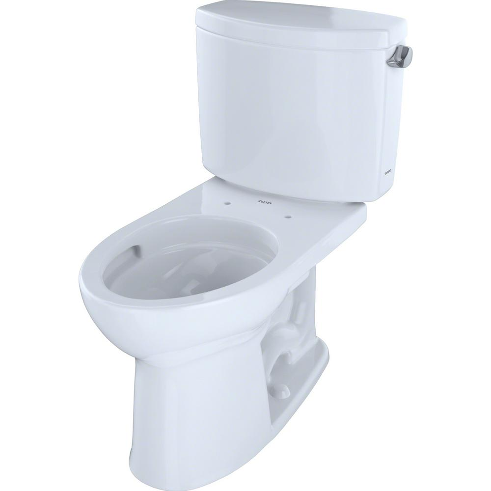 TOTO Drake II 2-Piece 1.28 GPF Single Flush Elongated Toilet with CeFiONtect and Right Hand Trip Lever in Cotton White