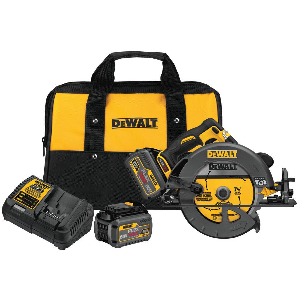 DEWALT FLEXVOLT 60-Volt MAX Lithium-Ion Cordless Brushless 7-1/4 in. Circular Saw with (2) Batteries 2Ah, Charger and Case