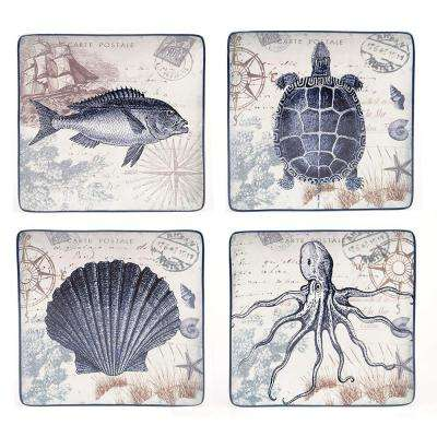 Coastal Postcards Collection Blue Dinner Plate (Set of 4)