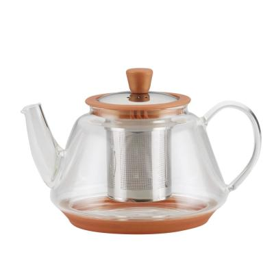 Tea Voyager Borosilicate Glass Teapot with Stainless Steel Infuser, 30-Ounce