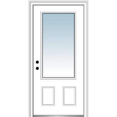 36 in. x80 in. Right-Hand Inswing 3/4-Lite Clear 2-Panel Primed Fiberglass Smooth Prehung Front Door on 6-9/16 in. Frame