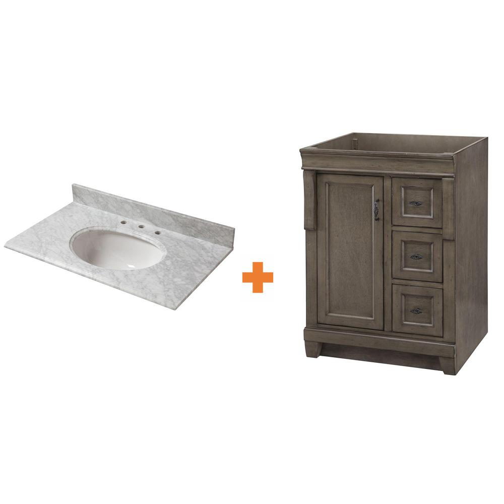 Home Decorators Collection Naples 25 in. W x 22 in. D Bath Vanity in Distressed Grey Marble Vanity Top in Carrara White (4-piece)