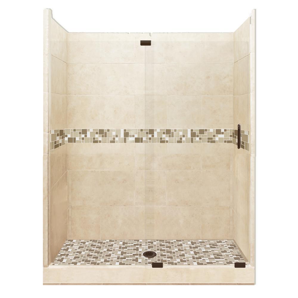 Tuscany Grand Slider 36 in. x 60 in. x 80 in. Center Drain Alcove Shower Kit in Desert Sand and Old Bronze Hardware
