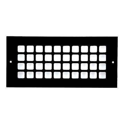 Square Series 10 in. x 4 in. Aluminum Grille, Black with Mounting Holes