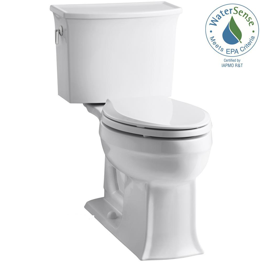 KOHLER Archer Comfort Height 2-piece 1.28 GPF Elongated Toilet in White with Cachet Q3 Toilet Seat