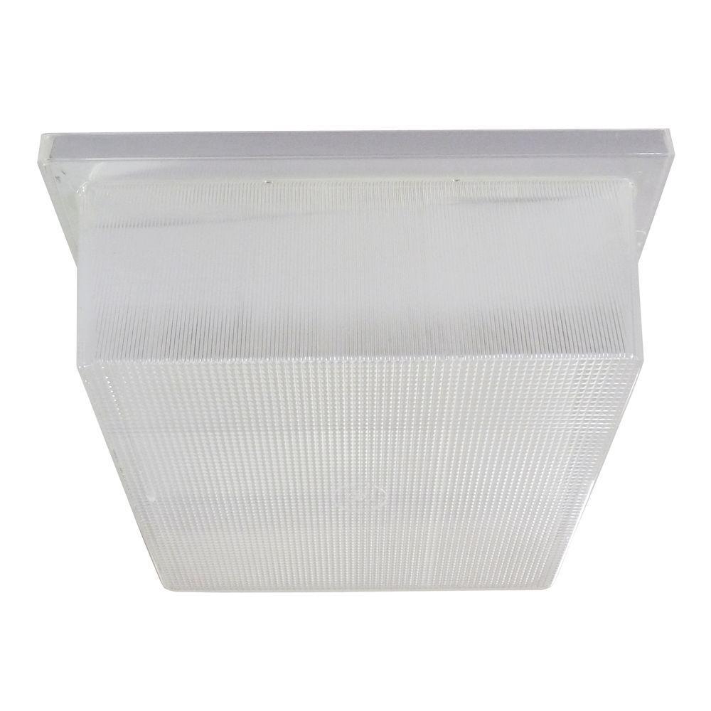 Multi-Use 1-Light Outdoor White LED Utility Flushmount Fixture