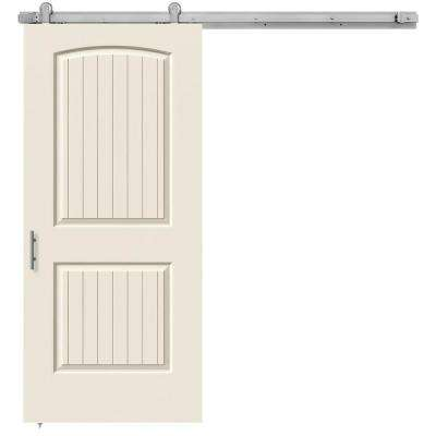 36 in. x 84 in. Santa Fe Primed Smooth Molded Composite MDF Barn Door with Modern Hardware Kit