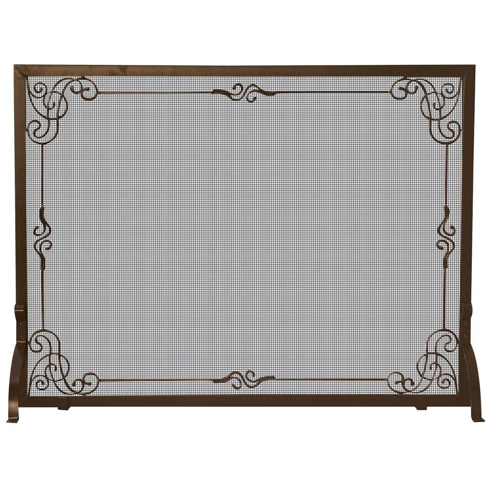 UniFlame Bronze Single-Panel Fireplace Screen with Decorative Scroll