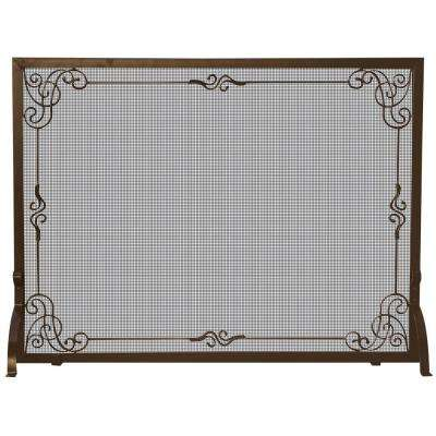 Bronze Single-Panel Fireplace Screen with Decorative Scroll