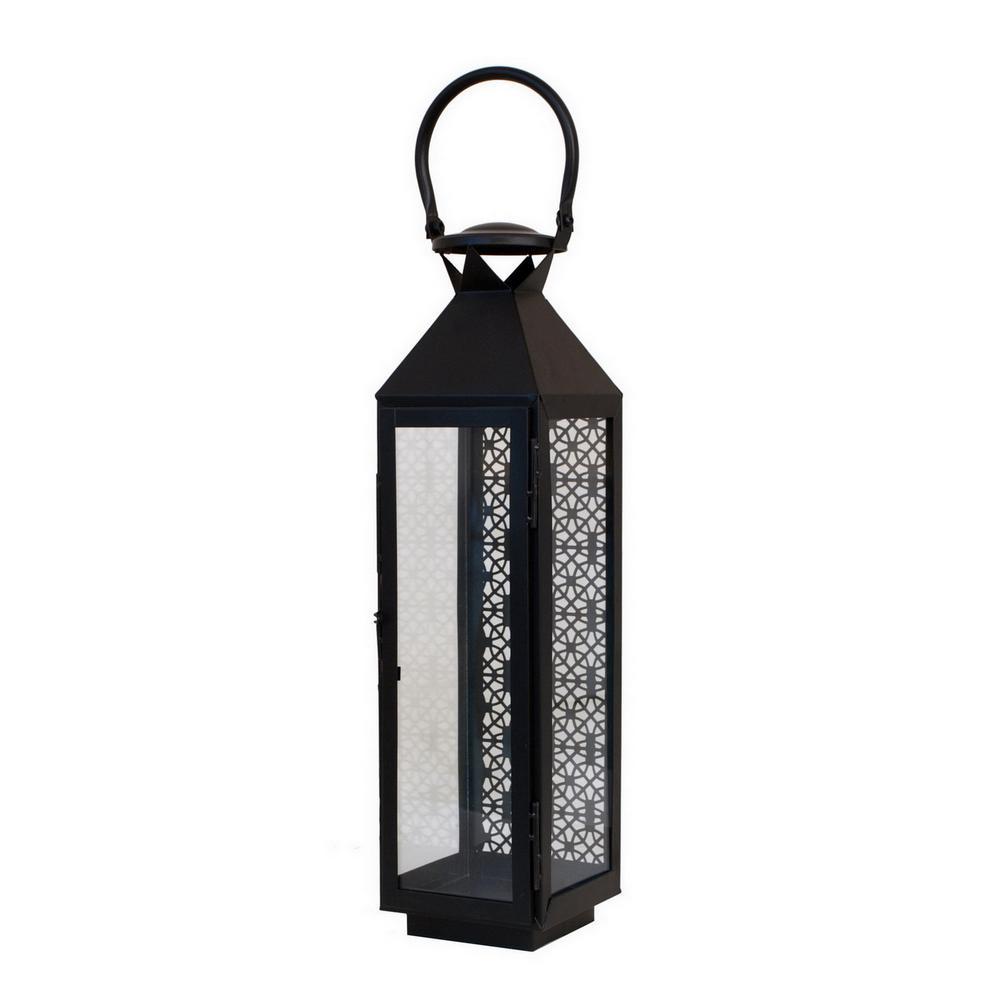 20 in. Black Metal Pierced Lantern