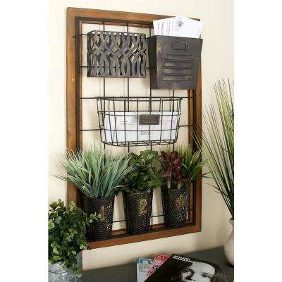 20 in. x 4 in. Wall Mount Storage with Wire Grid and 6-Various Metal Wire and Cutout Baskets and Bins