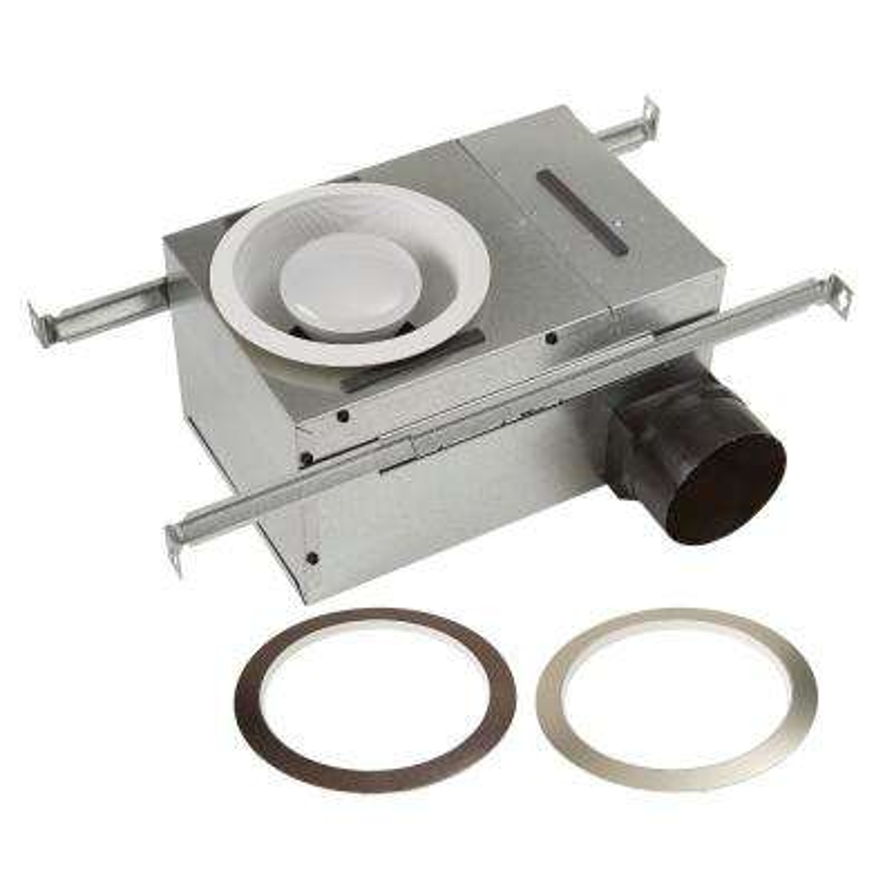 White Adjustable 50-80 CFM Ceiling Bathroom Exhaust Fan with Light Easy Change Trim Kit, ENERGY STAR*
