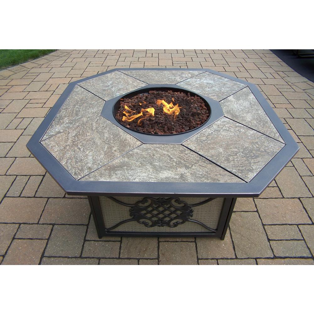 In X In Octagon Gas Firepit Table With Porcelain Top - Octagon propane fire pit table