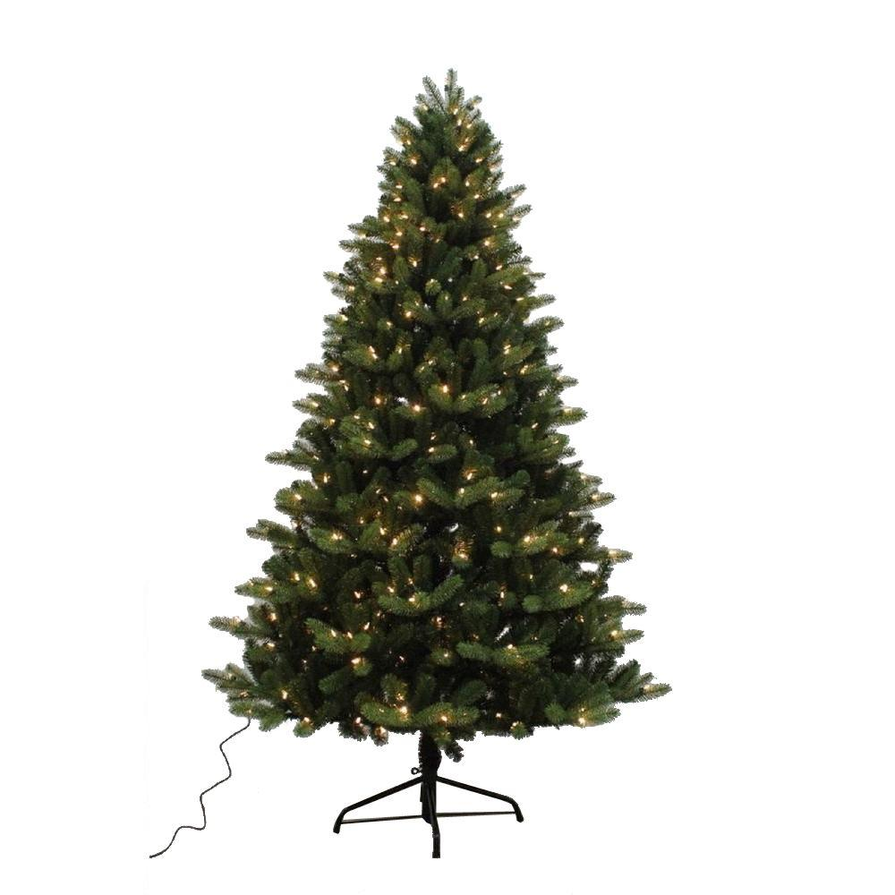 Home Accents Holiday 7.5 ft. Yukon Spruce Quick-Set Artificial ...