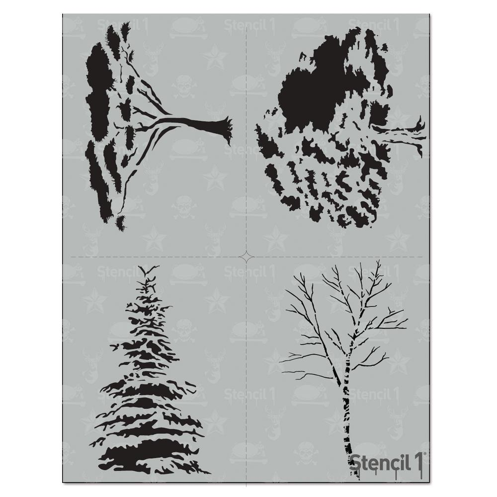 Stencil1 Trees Stencil 4 Pack S1 4p 18 The Home Depot
