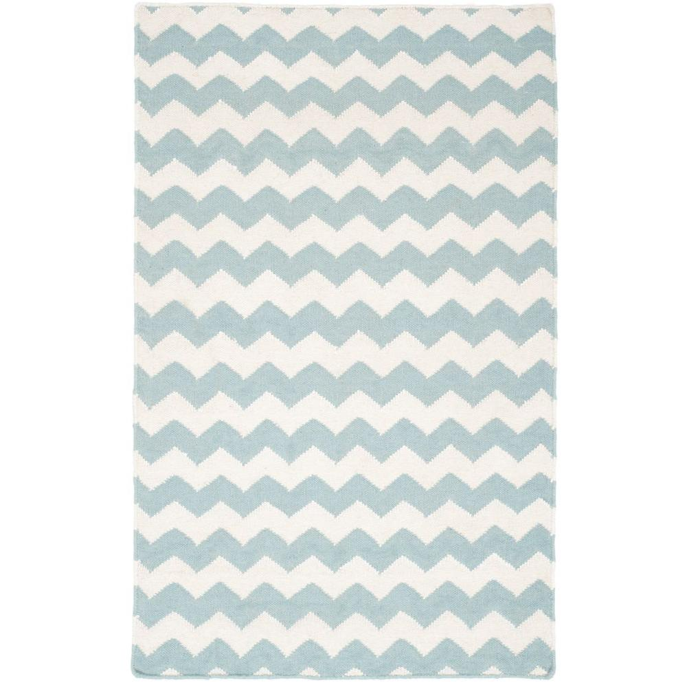 Dhurries Ivory/Blue 3 ft. x 5 ft. Area Rug