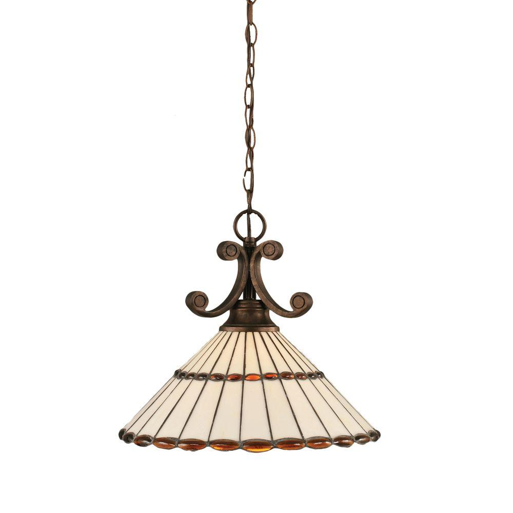 Filament Design 1-Light Bronze Honey Pendant with Amber Brown Jewels Tiffany Glass Shade
