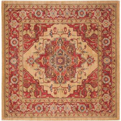 Mahal Red/Natural 9 ft. x 9 ft. Square Area Rug