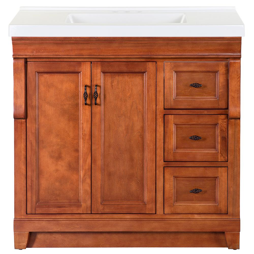 Home Decorators Collection Naples 37 in. W x 22 in. D Bath Vanity in Warm Cinnamon with Cultured Marble Vanity Top in White with White Sink was $828.0 now $496.8 (40.0% off)
