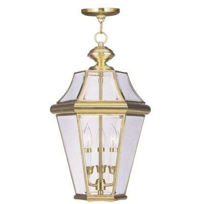 Providence 3-Light Polished Brass Outdoor Hanging Pendant