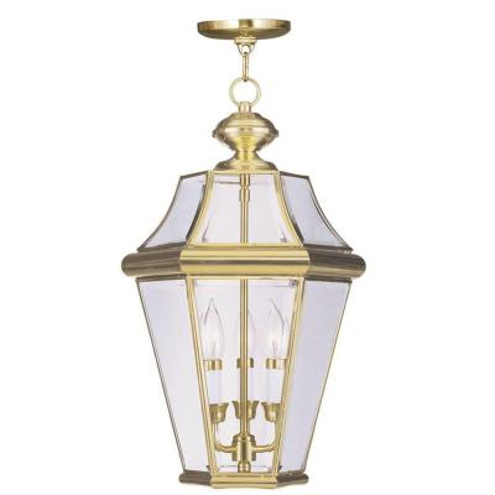 Georgetown 3 Light Polished Brass Outdoor Pendant Lantern