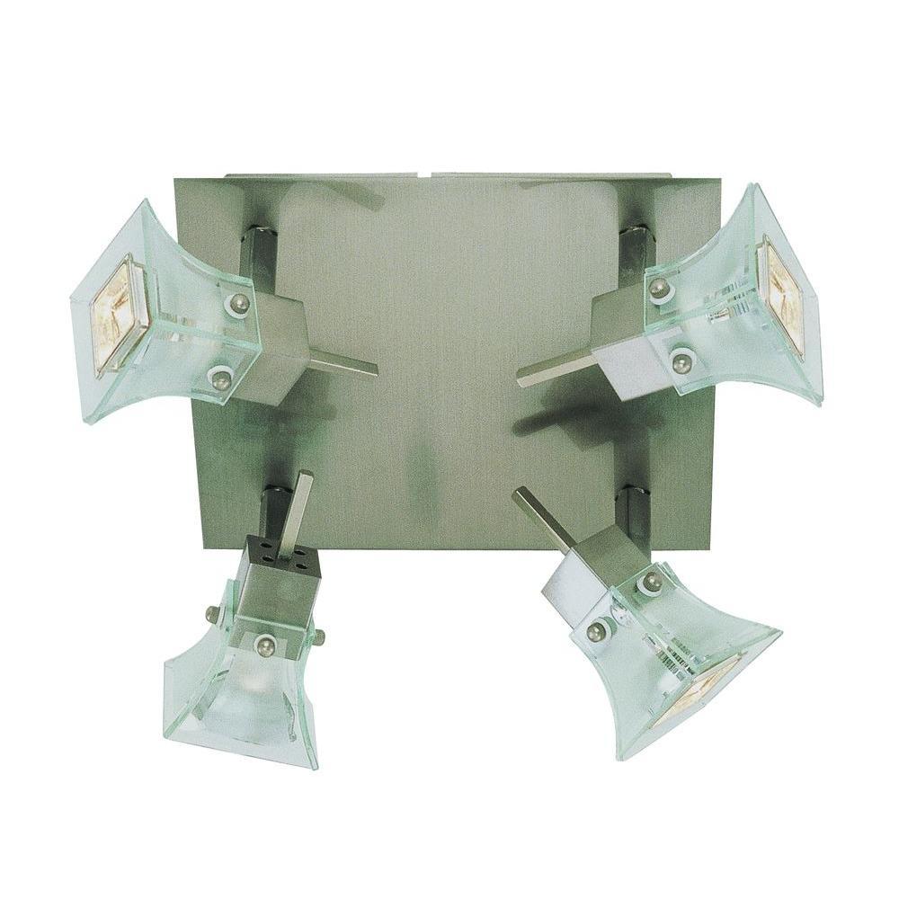 Bel Air Lighting 4-Light Brushed Nickel Track Square Cubes