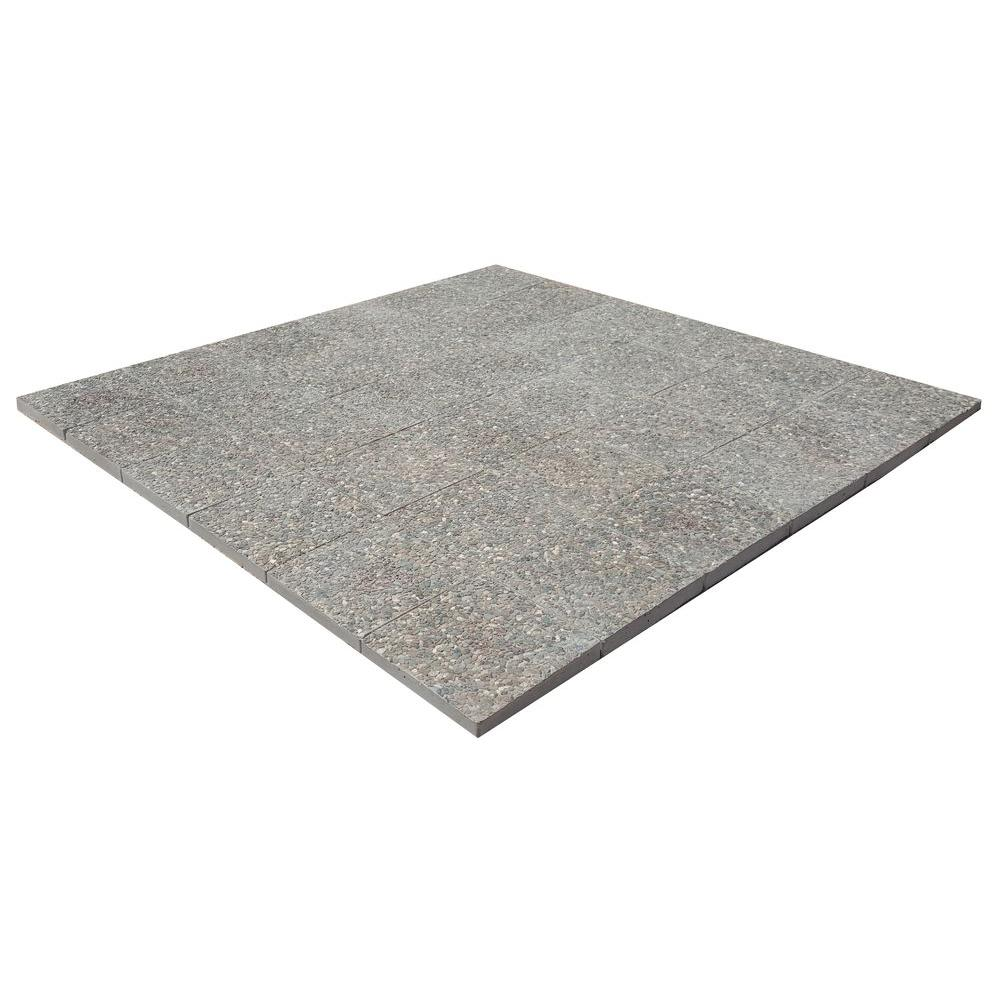 Awesome Square Exposed Aggregate Step Stone Patio On