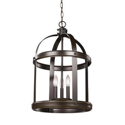 Lonoke 3-Light Heirloom Bronze Hall-Foyer Pendant with Dimmable Candelabra LED Bulb
