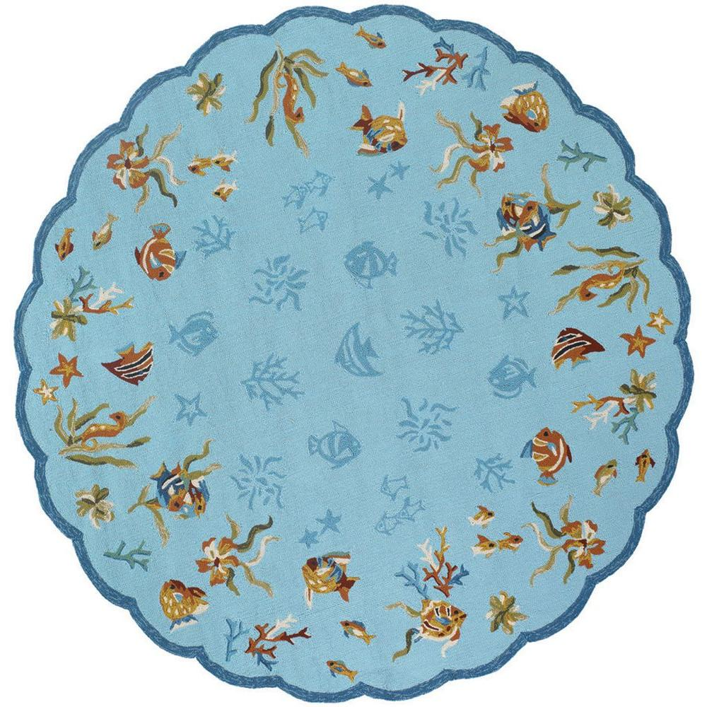 null Outdoor Escape Coral Dive Aqua 7 ft. 10 in. x 7 ft. 10 in. Round Area Rug