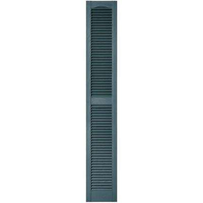 12 in. x 75 in. Louvered Vinyl Exterior Shutters Pair in #004 Wedgewood Blue